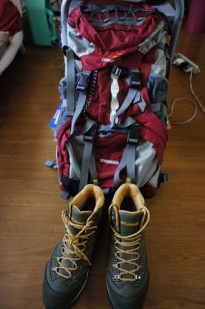 登山靴とザック